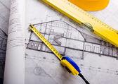 House blue print close up — Foto Stock