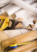 Architecture plan & Tools — Stock Photo