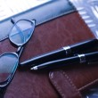 Notebook & Glasses — Stockfoto