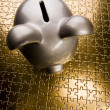Stock Photo: Silver piggy bank