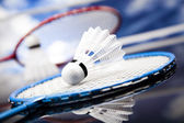 Shuttlecock on badminton racket — Stock Photo