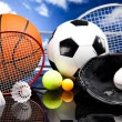 Foto de Stock  : Four Sports, lot of balls and stuff