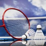 Shuttlecock on badminton racket — Stock Photo #31594763