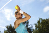 Girl Playing Tennis — Stockfoto