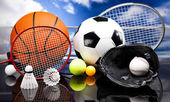 Four Sports, a lot of balls and stuff — Stock Photo