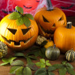 Scary Jack, halloween pumpkin and spider — Stockfoto