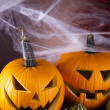 Scary Jack, halloween pumpkin and spider — Stock Photo