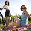 Girlfriends on picnic — Stock Photo #32563679