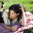 Young woman on nature picnic — Stock Photo