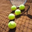 Sport, Tennis racket and balls — Stock Photo