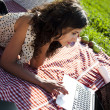 Stock Photo: Girl on a picnic with laptop