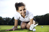 Thumbs up on golf — Stock Photo