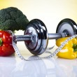 Vitamin and Fitness diet, dumbell — Stock Photo #34176953