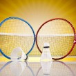 Shuttlecock on badminton racket — Stock Photo #34178571