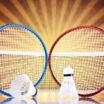Shuttlecock on badminton racket — Stock Photo #34178601