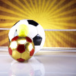 Soccer balls and sunset — Stock Photo