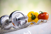 Vitamin and Fitness diet, dumbell — Stock Photo