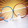 Shuttlecock on badminton racket — Stock Photo #34180803