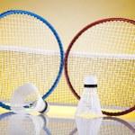 Shuttlecock on badminton racket — Stock Photo #34180939