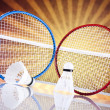 Shuttlecock on badminton racket — Stock Photo #34181187