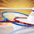 Shuttlecock on badminton racket — Stock Photo #34181439
