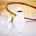Shuttlecock on badminton racket — Stock Photo #34182267