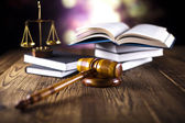 Judges wooden gavel and law books — ストック写真