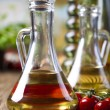 Olive oil and cherry — Stock Photo