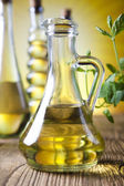 Carafes with olive oil — Stock Photo