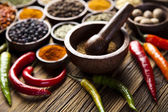 Spices on wooden — Stock Photo