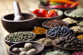 Spices on bowls — Stock Photo