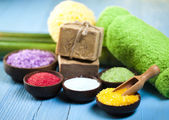 Natural bath salt, organic products, Spa — ストック写真