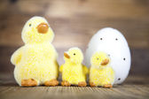 Furry chicks with easter egg — Stock Photo