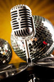 Microphone with disco balls — Stockfoto