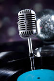 Microphone, Disco balls — Stock Photo