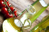 Olive oil in bottles — Stock Photo