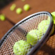 Постер, плакат: Tennis racket with balls