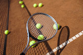 Tennis racket with balls — Stock fotografie