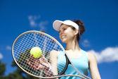 Donna, giocare a tennis — Foto Stock