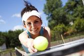 Tenis oyuncu raket ile — Stok fotoğraf