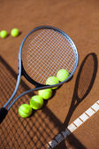 Tennis racket with tennis balls — Foto de Stock
