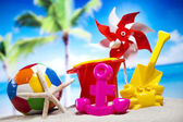 Plastic toys on  beach — Stock Photo
