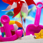 Plastic toys on beach — Stock Photo #49130871