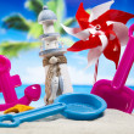 Plastic toys on  beach — Stock Photo #49135553