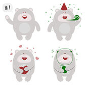 Set of funny celebrating bears — Stock Vector