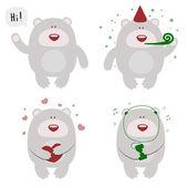 Set of funny celebrating bears — Wektor stockowy
