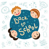"""Back to school"" funny doodles and tag. — Stock Vector"