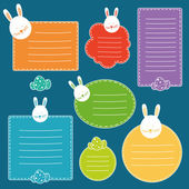 Bunny tags for school notebooks or easter gifts — Stockvektor