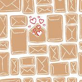 矢量无缝模式 — — 许多工艺字母和一个与爱 — 图库矢量图片