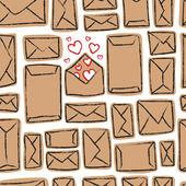 Vector seamless pattern - many craft envelopes and one with love — Wektor stockowy